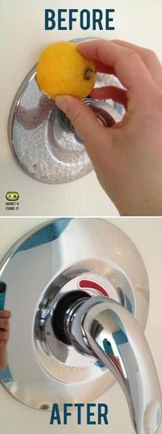 Lifehacking Tips & Tricks - use Fresh Lemon to remove water stain from faucets