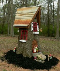 Make A Cute Fairy House From An Ugly Tree Stump