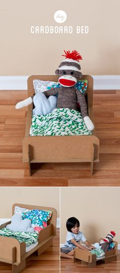 DIY Cardboard Bed for dolls and stuffed animals
