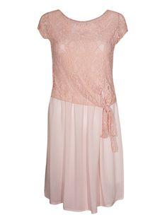 Bardzo kobieca i romantyczna, krótka sukienka z delikatną koronką z fantazyjnym wiązaniem po boku.
