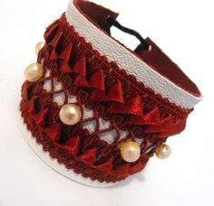 Leather bracelet. Lace and leather red wine color ❤ by julishland