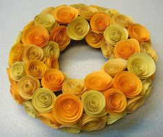Yellow Hues Rolled Roses Wreath Candle Holder by SweetPeasFlorals, $23.00