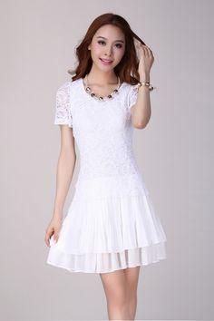 035348d7e061 White Slim Lace Chiffon Short Sleeve Big Size Dress