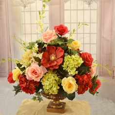 Floral Home Decor Elegant Rose, Magnolia and Hydrangea Large Silk Flower Arrangement Rosen Arrangements, Tall Flower Arrangements, Artificial Floral Arrangements, Floral Centerpieces, Artificial Flowers, Table Centerpieces, Wedding Centerpieces, Silk Flowers, Beautiful Flowers