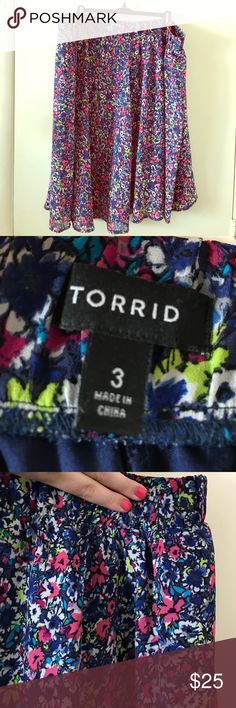 Torrid Floral Skater Skirt, 3x Pretty chiffon floral skater skirt. Wide elastic waistband. Fully lined. 26 inches long. Barely worn, no flaws. Smoke free, cat friendly home. torrid Skirts Midi