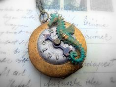 Steampunk Seahorse Locket Necklace with Watch Face from SteampunkByDesign on Etsy