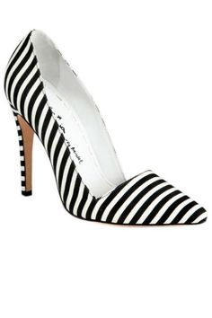Alice + Olivia Striped Canvas Pumps.