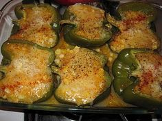 ... vegetarian meal - polenta stuffed peppers with cheddar (from my blog
