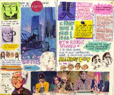 looshu: here's another much messier sketch diary page: i went to this international animation event at redcat and got to see a lot of real. Sketchbook Layout, Arte Sketchbook, Sketchbook Ideas, Kunstjournal Inspiration, Sketchbook Inspiration, Art Sketches, Art Drawings, Drawing Art, Posca Art