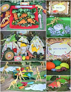 Dinosaur Birthday Party food idea for the kids. Dino nuggets with broccoli trees and olive eggs.
