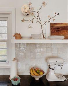 Cle tile backsplash, Semihandmade kitchen, self-designed kitchen Boho Kitchen, Ikea Kitchen, Kitchen Interior, Kitchen Decor, White Tile Kitchen, Small Kitchen Tiles, Kitchen Tiles Design, Island Kitchen, Kitchen Designs