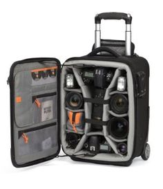Pro Roller X100 is a mobile studio: Airport-friendly, secure, holds a notebook, Reserve Pack-a camera backpack that zips out of the hard case.