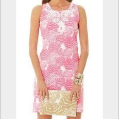 Lilly dress in oh Cabana boy! Lilly Pulitzer fitted dress in pink oh cabana boy. Beautiful detailing on the top.EUC. Dress it up or dress it down! Lilly Pulitzer Dresses