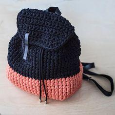 Custom Casual Rucksack/ Hipster Rucksack/ Mini Backpack/ Cotton Rucksack/ Crochet Rucksack/ Everyday backpack of Chunky Yarn Recycled Fabric Bag Crochet, Crochet Shell Stitch, Crochet Handbags, Crochet Purses, Love Crochet, Crochet Crafts, Crochet Projects, Crochet Hooks, Crochet Backpack Pattern