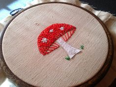 red mushroom little embroidery