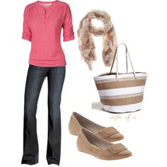 """""""Comfy Pink and Tan"""" by styleofe on Polyvore"""