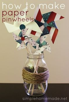 How to make paper pinwheels. My little man LOVES pinwheels! Cute Crafts, Crafts To Make, Crafts For Kids, Diy Crafts, How To Make Pinwheels, Pinwheel Tutorial, Patriotic Crafts, Idee Diy, Look Vintage