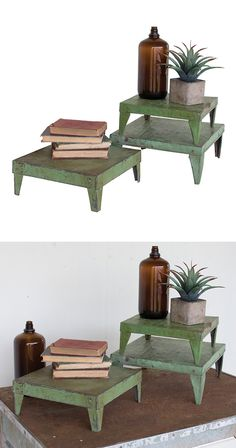 Elevate your favorite décor with this trio of charming risers. Boasting beautiful antiqued green finishing, these Olivier Risers will add character to a bare table or counter space. Top these risers wi...  Find the Olivier Risers - Set of 3, as seen in the Modern Meets Old Time Charm in Monterey Collection at http://dotandbo.com/collections/modern-meets-old-time-charm-in-monterey?utm_source=pinterest&utm_medium=organic&db_sku=114615