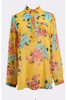 #Aprilwe  Retro Color Block Print Perspective Chiffon Shirt