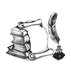 Academic and education set: books, scroll, pen Royalty Free Stock Vector Art Illustration Quill Tattoo, Book Tattoo, Art And Illustration, Illustrations, Scroll Tattoos, Sketch Icon, Sketches, Page Borders Design, Book Drawing