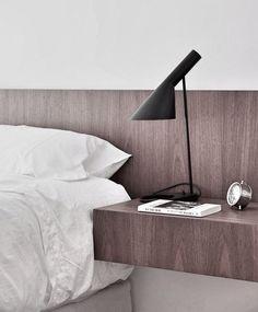 Modern Plywood Bedside Table Design Ideas For Bedroom 25 - Home Decor Ideas 2020 Arne Jacobsen, Scandi Living, Tiny Living, Bedroom Wall, Bedroom Decor, Home Bedroom, Nordic Bedroom, Bedrooms, Bedroom Lighting