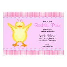 CUTE Sweet Pink card with Yellow Duck Birthday Announcement