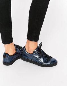 Image 1 of Puma Basket Sneakers In Blue & Black Metallic