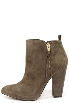 Steve Madden Jannyce Taupe Suede Leather Ankle Boots at LuLus.com! Also in black and cheaper at DSW