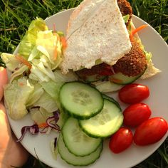 went for a picnic with @avocad.ohh in the sunshine n had falafel pittas with a huge bag of salad!!! such a lovely day by frutti.qt