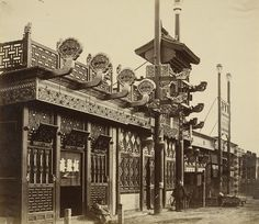 [Shops and Street, Chinese City of Peking], 1860 Albumen silver print, x cm. The J. Chinese Buildings, Chinese Architecture, Gothic Architecture, Ancient Architecture, Old Pictures, Old Photos, Vintage Pictures, Getty Museum, History Of Photography