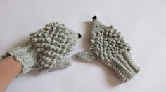 Hedgehog mittens hedgehog gloves in grey color by paintcrochet
