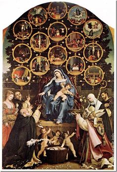 Лоренцо Лотто. Мадонна с четками. 1539. Церковь Сан Николо, Синьоли. Италия