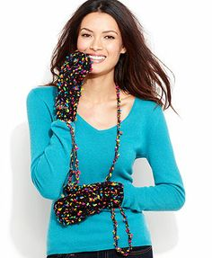 Betsey Johnson Funfetti Mittens On a String