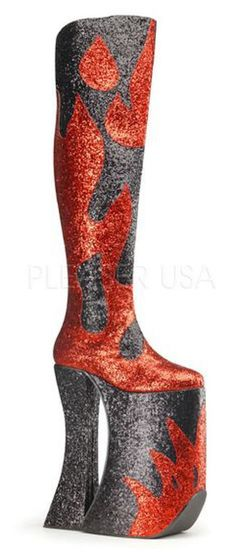 """Black and Red flame 11"""" platform gogo drag thigh boots. Glitter and glitz fire design platform boots - hot sexy outrageous and bold  fashion statement footwear. bold fashion style, unique fashion, weird stuff, sparkle, drag queen. - This is an affiliate link."""