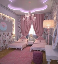 Pretty Princess Bedroom Design And Decor Ideas For Your Lovely Girl Girl Bedroom Designs, Girls Bedroom, Bedroom Decor, Twin Girl Bedrooms, Bedroom Ideas, Princess Room, Kids Room Design, Room Kids, Little Girl Rooms