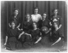 Monroe Wisconsin high school girls basketball team, 1912.  Library of Congress, Prints and Photographs Division, LC-USZ62-37433, photo by E. H. Gloege, Monroe, Wisconsin (1912).