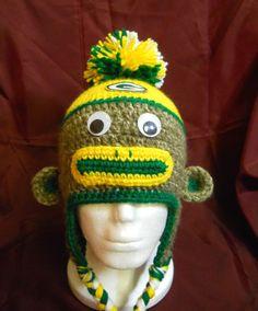 Green Bay Packers Football Sock Monkey Hat  Adult by CDBSTUDIO, $25.00
