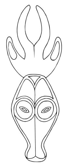 African Mask Drawings | This free clip art is designed to help you with drawing or tracing the ...