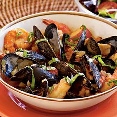 Speedy Cioppino | Serve a seafood stew loaded with shrimp, mussels, and fish. Pair with a bright lemon-dressed salad to accent the fresh flavor of the seafood.