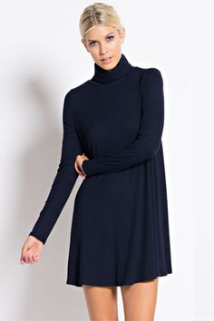 Warm Wishes Textured Knit Turtleneck Dress - Navy