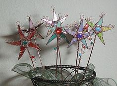 Magic Wand Stained Glass Garden Art - by Dianne McGhee from Glass Art Cold Art Gallery