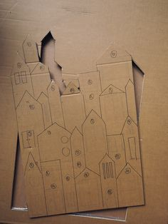 LE VILLAGE DE L'AVENT #DIY Cardboard Paper, Cardboard Crafts, Paper Crafts, Homemade Christmas Decorations, Christmas Diy, Popsicle Stick Crafts House, Advent Calenders, Le Village, How To Make Paint