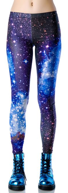 Womens S Blue Leggings Tights Soft Unif Hipster Print Sexy Milk Black GALAXY S/M