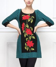 Another great find on #zulily! Teal & Black Stripe Floral Shift Dress by Reborn Collection #zulilyfinds