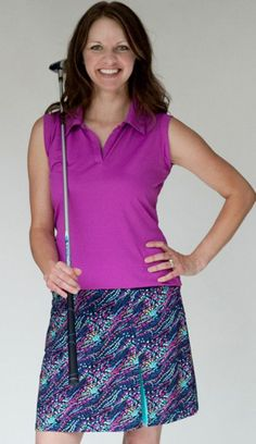 GolfHer Ladies Golf Outfits (Shirt & Skort) - Mulligan (Turquoise & Purple) Lori's Golf Shoppe