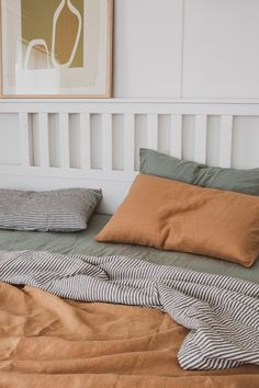 A tonal colour combination of Sage, Sandalwood & Stripe French linen bedding Dream Bedroom, Home Decor Bedroom, Interior Minimalista, Up House, New Room, Apartment Living, Living Room, Cheap Home Decor, Home Decor Accessories