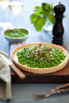 Pea and Herbed Goat Cheese Tart // almond flour, butter, egg white, salt, fresh goat cheese, greek yogurt, olive oil, basil, chives, mint parsley, pepper, peas //