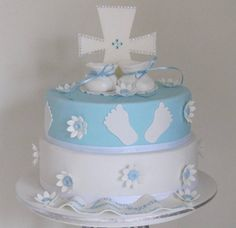Baptism Cakes For Boys | Pin Christening Cake For Baby Boy With Blue Bear Topperjpg Cake on ...