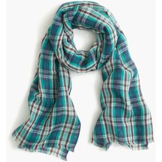 We made this pretty scarf in a teal plaid for the perfect weekday (or beach day) accessory. x Linen/cotton. Teal Scarf, Tartan Plaid Scarf, Spring Fashion 2017, Scarf Wrap, Women Accessories, J Crew, Luxury Fashion, Fashion Outfits, Cotton