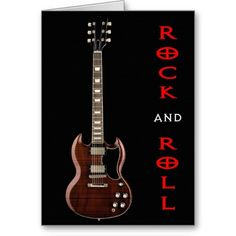 Rock and Roll Guitar Greeting Card available at www.zazzle.com/stevebrownleeart